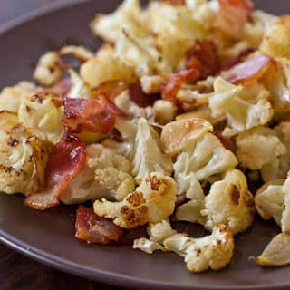 Roasted Cauliflower Recipe with Bacon and Garlic.