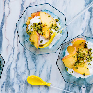 Tapioca Pearl Pudding with Grilled Peaches and Pistachios Recipe