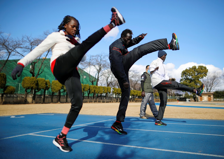 Athletes from South Sudan Lucia Moris, Akoon Akoon and Michael Machiek take part in their training session in preparation for the Tokyo 2020 Olympic and Paralympic Games that have been postponed to 2021 due to the coronavirus disease (Covid-19) outbreak, in Maebashi, north of Tokyo, Japan January 29, 2021.