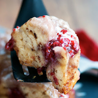 Raspberry Sticky Bun Cake