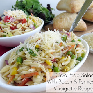 Orzo Pasta Salad with Bacon & Parmesan Vinaigrette