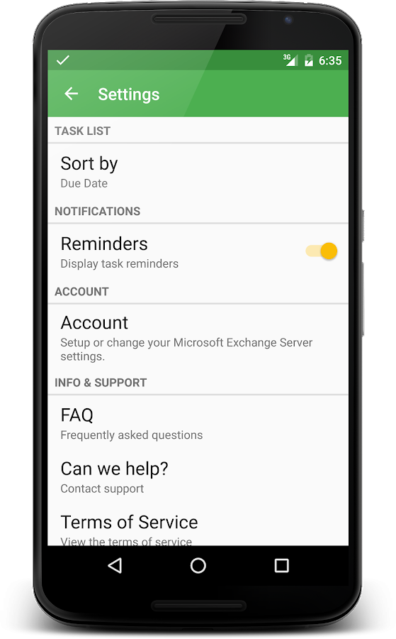 Tasks for Microsoft® Exchange- screenshot