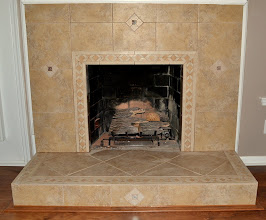 Photo: Porcelain Tile Face with Diamond Inlays and Border (This was originally a '70's brick hearth.)