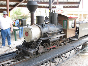 Photo: Bob Sanford's narrow gauge loco with Doug Gillory at left