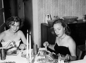 Photo: Katy Otken (Branch) & Milly Blanton (Hopkins) at a Senior Dinner at Shangri-la in Spring, 1951.