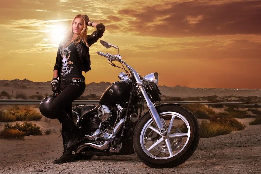 Sunset Bike by Glory Reaglobe - People Portraits of Women