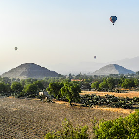 Teotihuacan Pyramids by Pilar Gonzalez - Buildings & Architecture Public & Historical ( fly, mexican pyramids, teotihuacan, balloon, sun and moon,  )