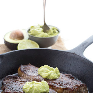 Chili Rubbed Steak with Avocado Crema.