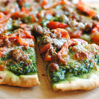 Sausage, Red Bell Pepper and Spinach Pesto Pizza