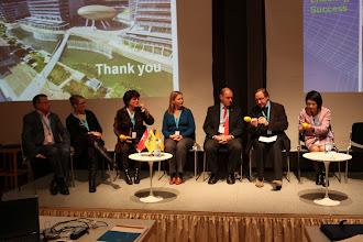 "Photo: Final panel discussion - ""Communicating Science & Innovations""- 2012: M. Cleassens, M. Satherstrom, N. Buitelaar, A. Gravier, H. Kunz, J. Gillies, H. Yokoyama"