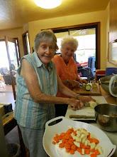 Photo: Karen and Gyandevi prepping veggies