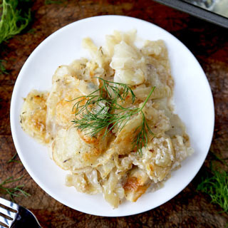 Scalloped Potatoes with Caramelized Fennel
