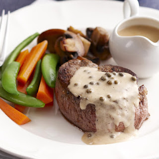 Beef Tenderloin with Peppercorn Sauce.