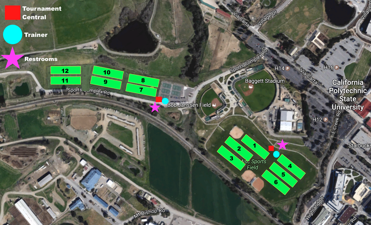 Event Field Map | Play USA Ultimate on ucsd map, georgia tech map, sonoma state map, california map, georgetown map, duke map, cornell map, houghton college map, usc map, cal state northridge map, camp slo map, uc riverside map, cal state pomona map, sacramento state map, poly canyon trail map, valparaiso map, uc irvine map, loyola marymount map, cal state san luis obispo, weber state map,