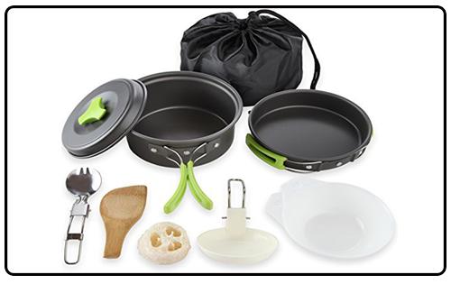 MalloMe Camping Cookware Mess Kit Gear – Camp Accessories 1 Liter Pot, Green