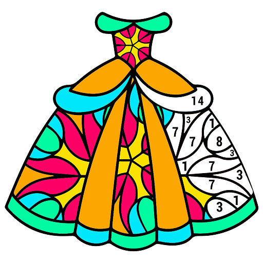 Girls Dress Color by Number - Adult Coloring Book Icon