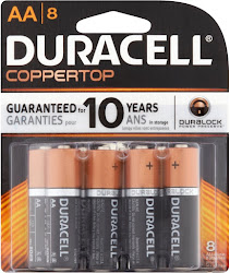 Duracell Coppertop AA 1.5V Alkaline Batteries - 8 Pack