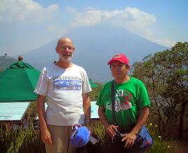 Photo: Rodney and Victor. At Santo Domingo del Cerro in Antigua,with Volcán de Agua in the distance