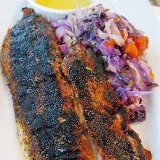Blackened Red Fish With Emeril's Quick Cabbage And Lemon Butter.