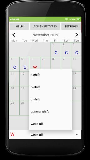 Shift duty calendar screenshot 2