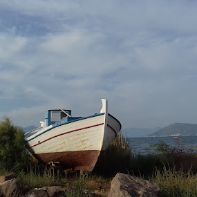 Beached Boat by Gay Reilly - Novices Only Landscapes ( mountains, grass, greece, sea, boat )