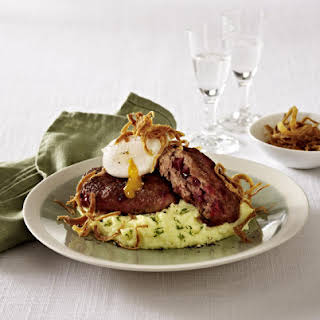 Beet Burgers with Dilled Mashed Potatoes and Poached Eggs.