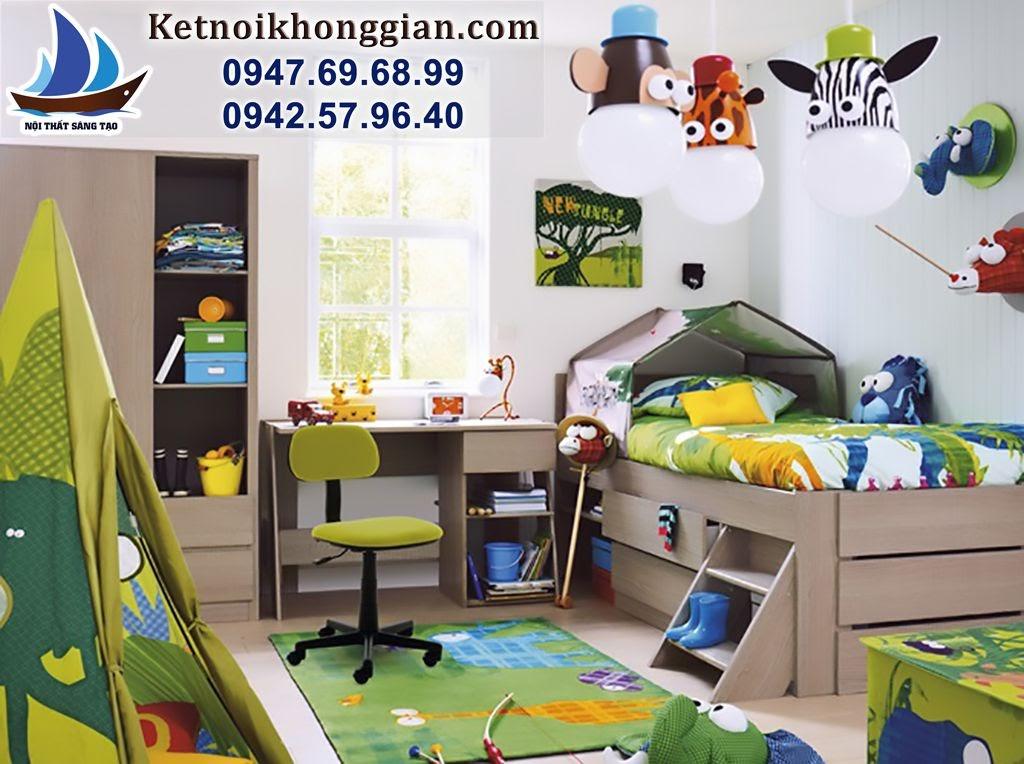 thiết kế phòng ngủ bé trai sinh động cuốn hút
