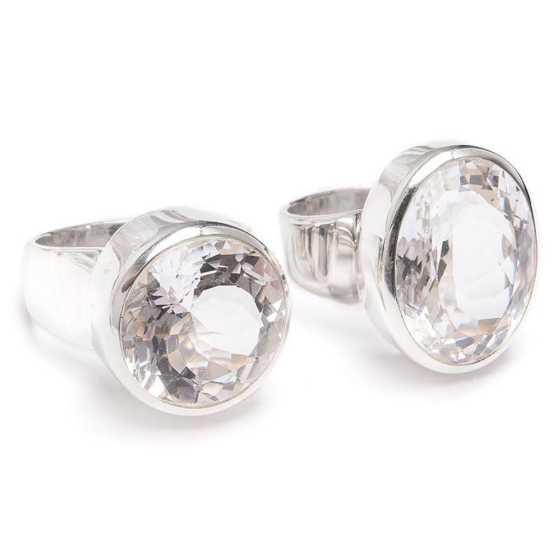 Bergkristall, silverring i toppklass