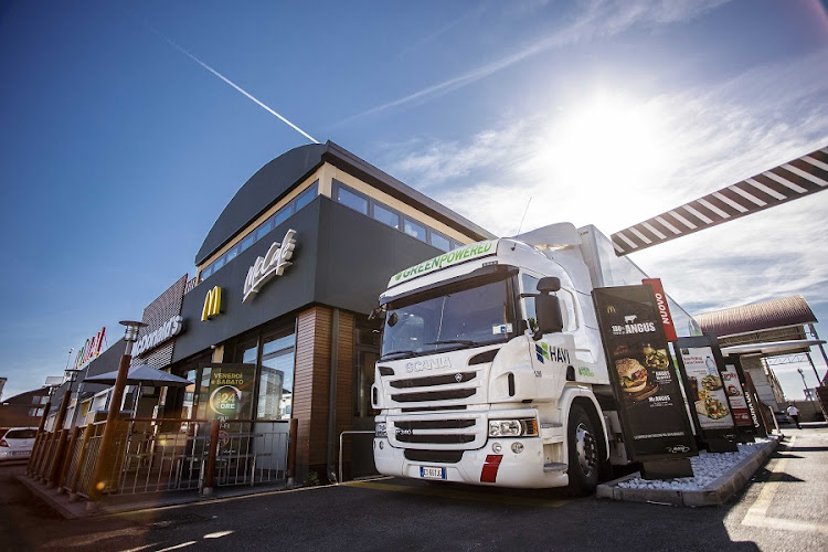 One of the Scania trucks used to cut CO2 emissions in the transport chain for McDonald's in Europe. Picture: SCANIA