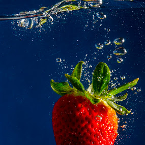 Strawberry Letter 23 by Fitz C - Artistic Objects Other Objects ( water, fruit, red, splash, blue, green, drop, strawberry )