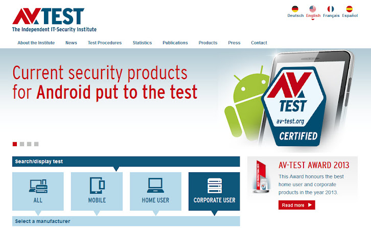AV-TEST homepage Aug 2014
