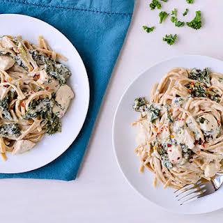 Slow-Cooker Kale and Chicken Fettuccine Alfredo.