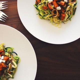 Paleo Zucchini Pasta With Sweet Potato, Leeks And Rosemary