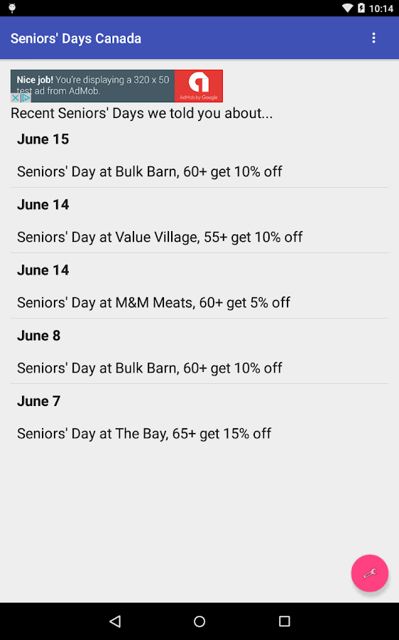 Seniors' Days Canada- screenshot
