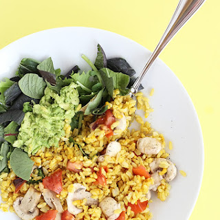 Healthy Brown Rice Curry Salad Bowl.