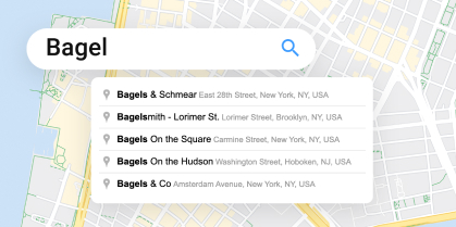 """Google Maps search bar with autocomplete suggestions for """"bagel"""""""