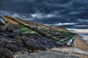 Photo: The very nice lady standing up there in the red coat was kind enough to stand still so I could get seven shots. It was very dull out around Dublin today. The sun did come out for bit. Just enough time to get a little light on to these steps.  Done in Nik HDR inside PS CS5. Hope you like it.  #stonesaturday Curator +Antoine Berger