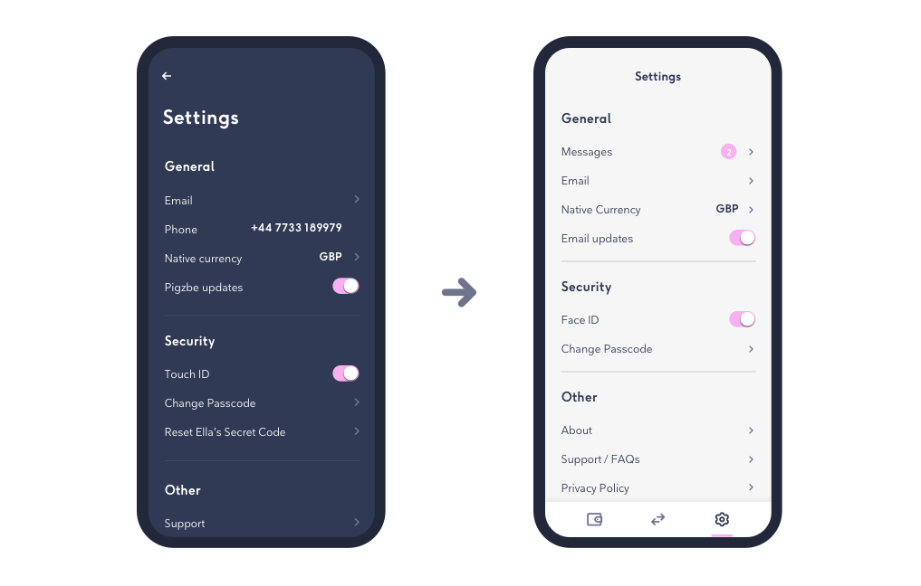 Wollo wallet settings