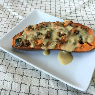 Vegan and Gluten-Free Stuffed Sweet Potatoes with Chz Sauce