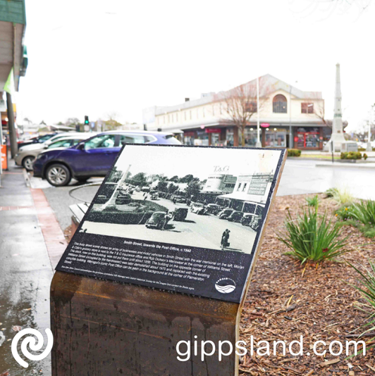 Warragul and District Historical Society provided the photographs and captions for the signs that will make you look back at the history and see what was previously there