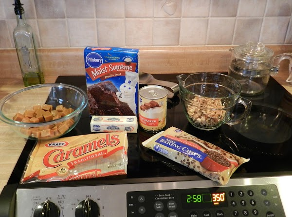 Preheat the oven to 350 degrees. Melt the caramels plus 1/3 Cup of the...
