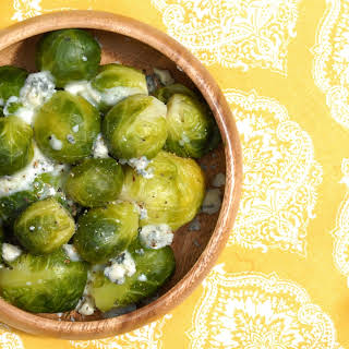 Cato Corner Farm Blue Cheese Roasted Brussels Sprouts.