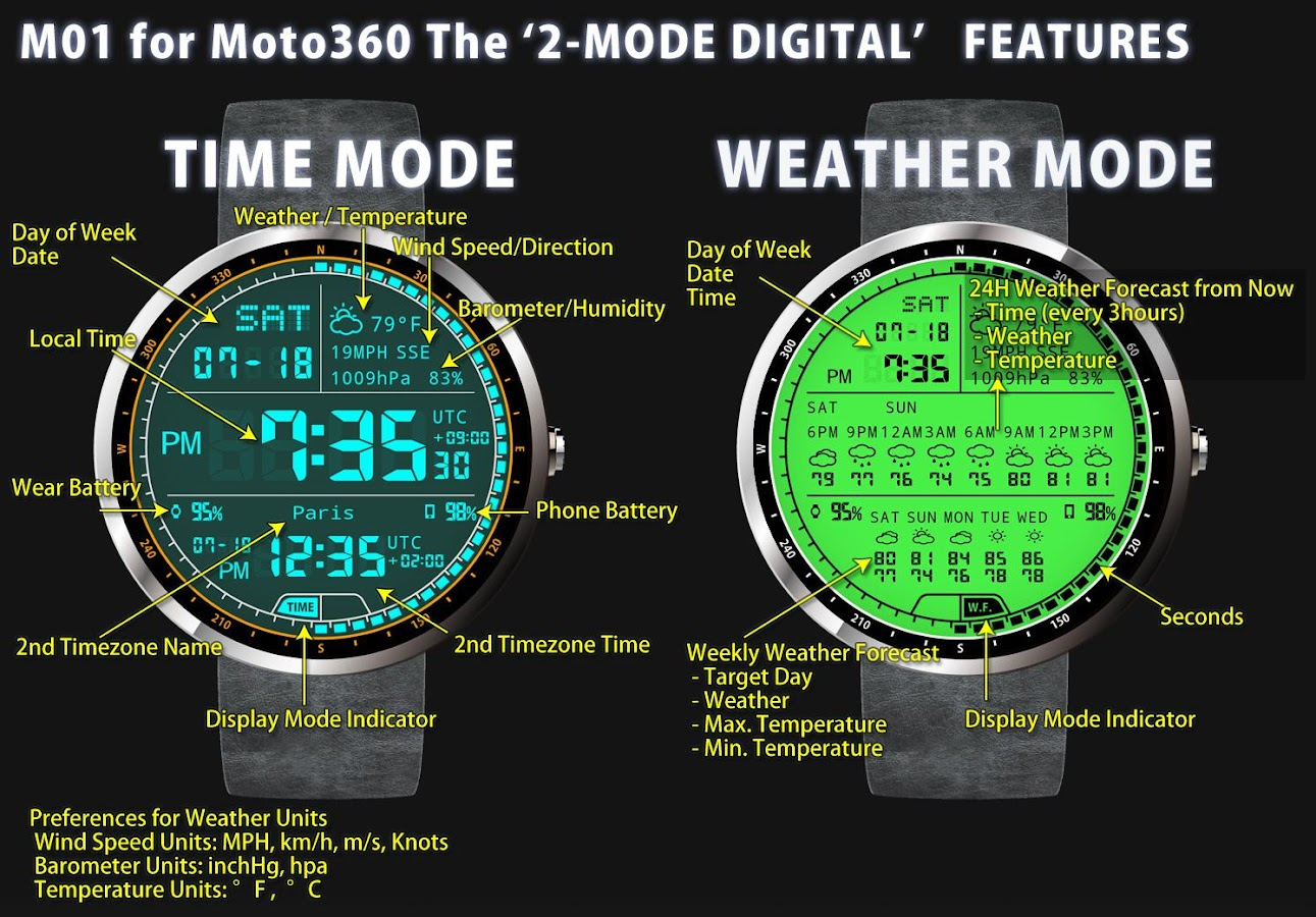 Faces for moto 360 - M01 Watch Face For Moto 360 Screenshot