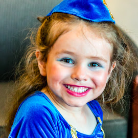 After the Recital by Jennifer  Loper  - Babies & Children Child Portraits ( makeup, dancer, re, hat, girl, blue dress )