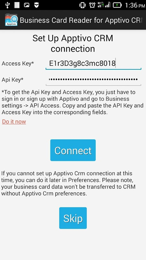 Free Business Card Reader for Apptivo CRM- screenshot