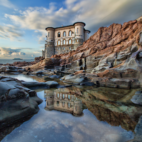 Castel Boccale Livorno (Tuscany, Italy) by Gianluca Presto - Buildings & Architecture Homes ( sky, cliffs, reflection, castle, cliff, tuscany, house, water, sea, home, water reflection, waterscape, homes, livorno, italy, lanscape, architecture,  )