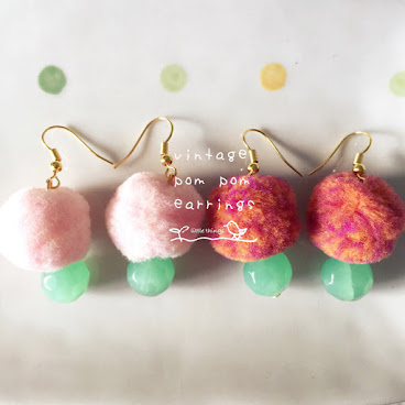 vintage pom pom earrings