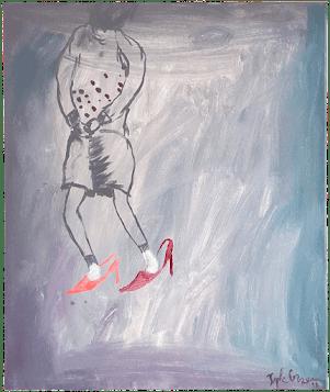 retenit l'enfance peinture-acrylique-toile canevas printemps renaissance-sophie-lormeau-art-singulier-figuratif-contemporain-portrait-imaginaire chaussures de maman souvenir artist emergent