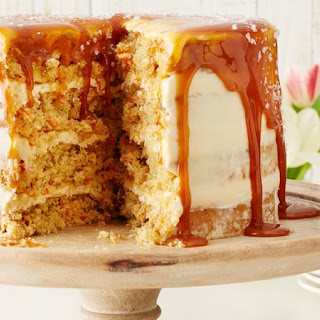 Carrot Cake with Salted Caramel-Cream Cheese Frosting.