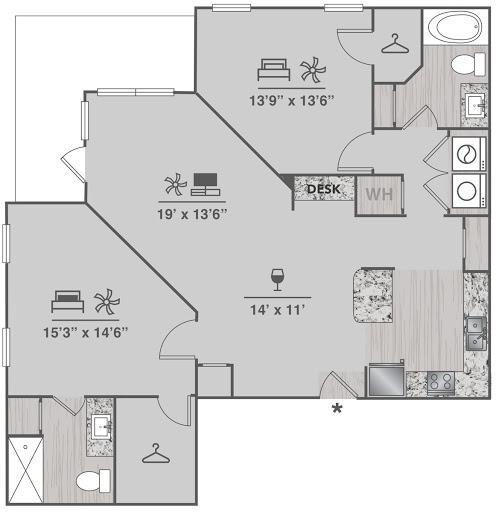 B3 Floorplan (2 Bed, 2 Bath)